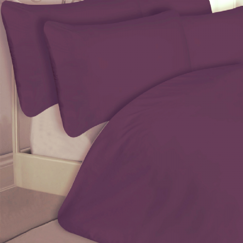 PURPLE COLOUR 200 THREAD COUNT LUXURY QUALITY EGYPTIAN COTTON BEDDING DUVET SET